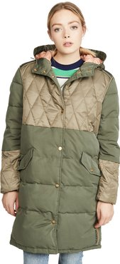 Mixed Fabric Parka Jacket