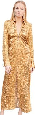 Golden Atlas Long Sleeve Dress