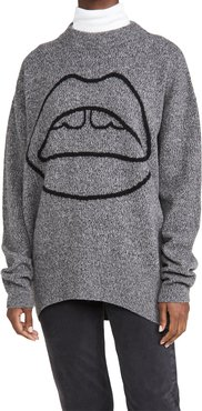 Erin Melange Lip Crew Neck Sweater