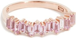 18k Gold Pink Sapphires Baguette Ring