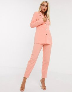 4th + Reckless button detail cigarette pants in coral-Orange