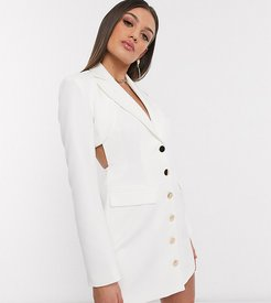 exclusive cut out back blazer dress in white