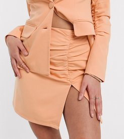 exclusive ruched tailored mini skirt in peach-Orange