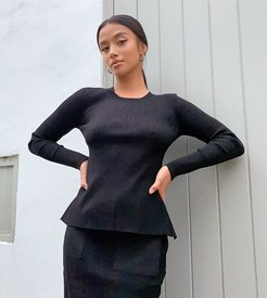 knitted backless top two-piece in black
