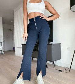 knitted flare pants in navy