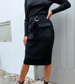knitted midi skirt two-piece in black