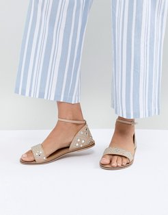 Marissa pink mirrored flat sandals