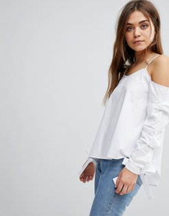 Cold Shoulder Top With Bow Cuff Details-White