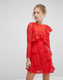 Long Sleeve Mini Lace Shift Dress With Ruffle Detail-Red