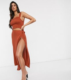 Exclusive wrap side beach skirt in rust-Red