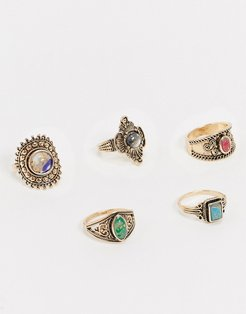 Graffe 4 pack jewelled statement rings in antique gold
