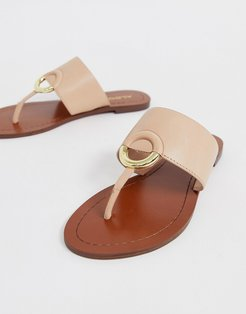 Ocericia leather ring post sandals in beige-Pink