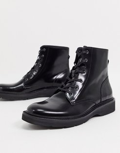 nova high shine leather lace up boots in black