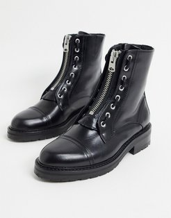 ariel zip front lace up detail chunky leather boots in black