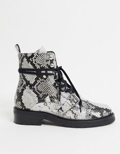 donita snake print leather hiking boots in black