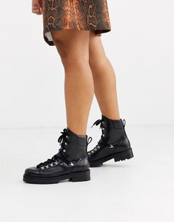 Franka leather hiking boots in black