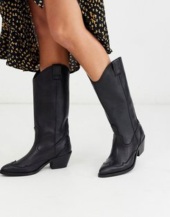 Luna mid calf leather cowboy boot-Black
