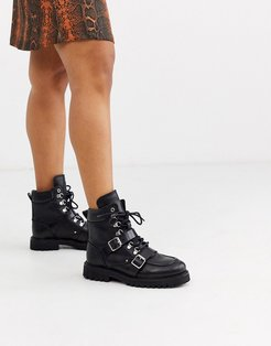 Noa leather hiking boots with buckle-Black