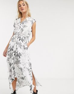 tate evolution skeleton and floral print maxi dress in white