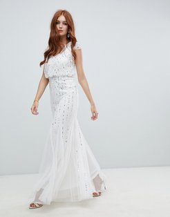 2-in-1 embellished wedding dress in ivory-White
