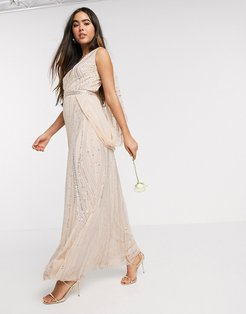 Bridesmaid embellished wrap cape sleeve maxi dress in rose gold