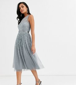 bridesmaid midi dress with scattered embellishment in dark gray