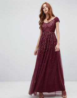embellished ombre sequin maxi dress with cami strap in berry-Red