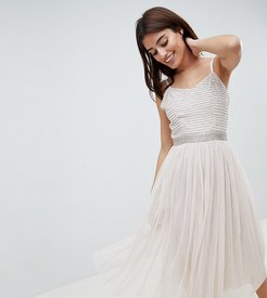 Midi Cami Strap Dress with Tulle Skirt and Embellished Upper-Brown