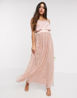 ombre sequin maxi tulle skirt in rose-Gold