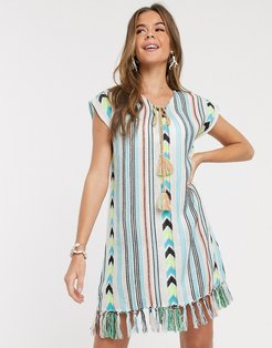 Aztek Mini Dress-Multi