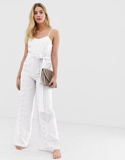 blue bell luxe striped beach jumpsuit-White
