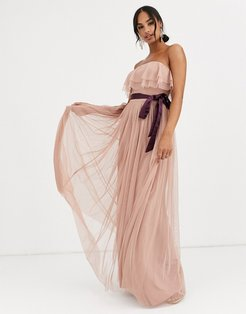 With Love bandeau maxi tulle dress with contrast waistband in burgundy-Red