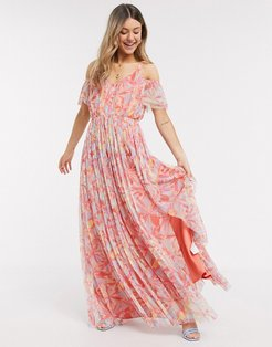 With Love cold shoulder all over floral printed pleat maxi dress in multi print