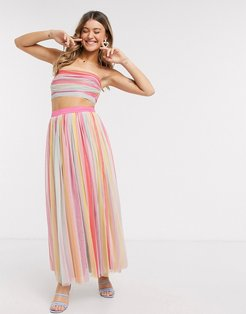 With Love midaxi prom skirt in stripe print-Multi