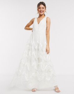 With Love plunge front prom maxi dress with feather effect skirt in white