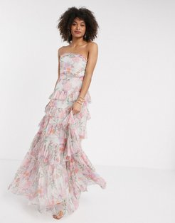 With Love tulle bandeau tiered maxi dress in pink floral print