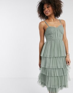 With Love tulle frilly tiered midi dress in green
