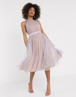 With Love tulle halterneck dress with contrast stripe in multi