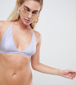 Exclusive metallic plunge bikini top in lavender-Blue