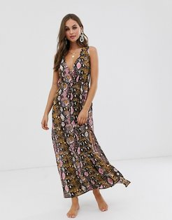 maxi split front beach dress-Multi