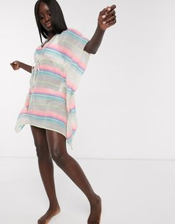 stripe beach caftan-Multi