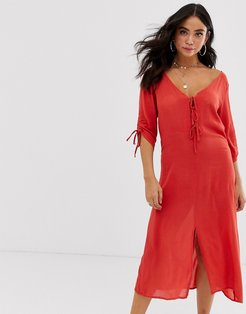 tie front beach dress-Red