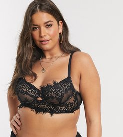 Curve Fearless longline lace non padded bra in black