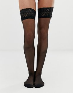 lace top glossy hold up-Black