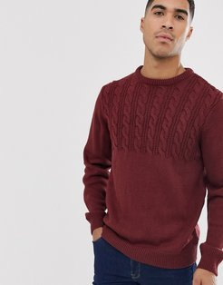 half cable sweater in burgundy-Red