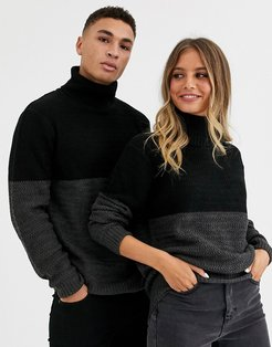unisex cut and sew roll neck cable sweater in gray