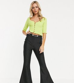 90's flare pants in pin stripe with chain detail waist-Multi