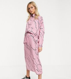 midi skirt with toggle waist in lightening print two-piece-Pink