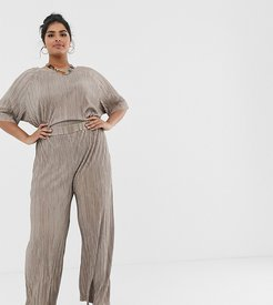 relaxed pants in plisse two-piece-Beige