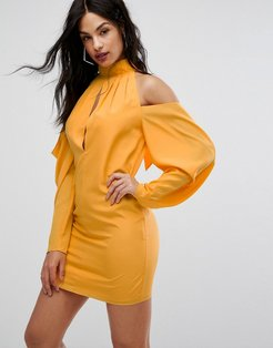 AQ/AQ Mini Dress With Cold Shoulder Ruched Detail-Yellow